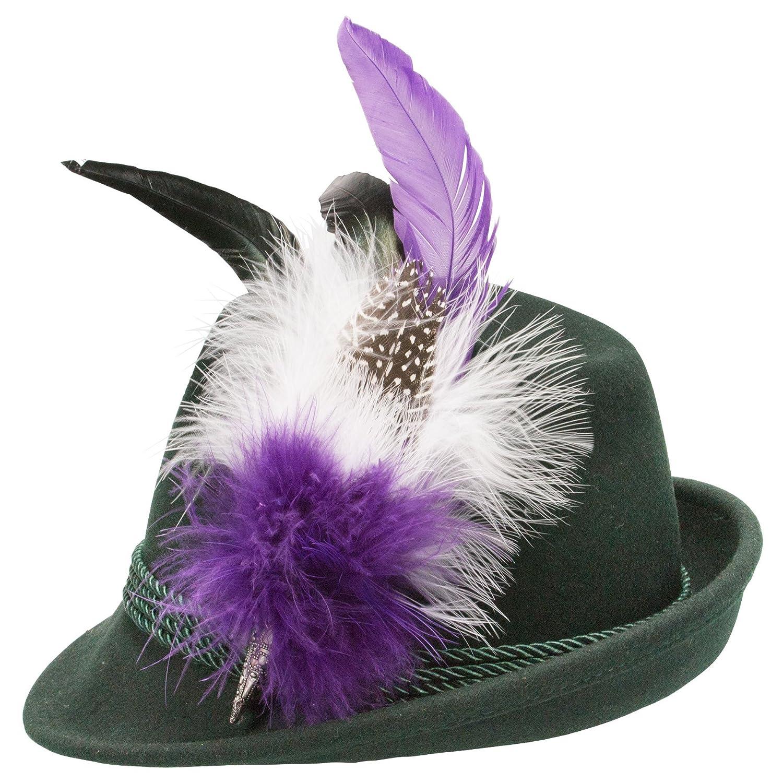Alpenflüstern Damen Filzhut Trachtenhut grün mit Hutfeder Farbenfroh ADV07600M70 lila