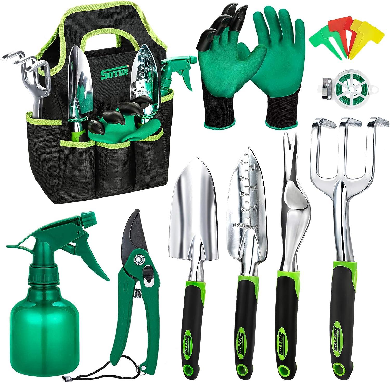 Garden Tools Set 15 Pieces, Aluminum Alloy Heavy Duty Gardening Tool Set with Ergonomic Handle, Digging Trowel Pruner Weeder Hand Rake, Storage Tote Bag, Gloves Sprayer and More Outdoor Hand Tools