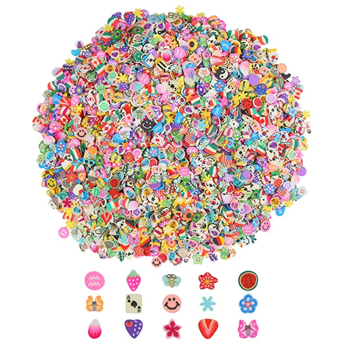 CCINEE Nail Art Slices,3D Assorted Fimo Slices Fruit Animal Flower Polymer Clay Slices for Slime Craft,4500PCS,1/5 Inche