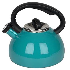Whistling Tea Kettles, AIDEA 2 Quart Ceramic Tea Kettle for Stovetop Induction, Enameled Interior Tea Pot for Anti-Rust, Audible Whistling Hot Water Kettle for Kitchen, Porcelain Tea Kettle -Turquoise