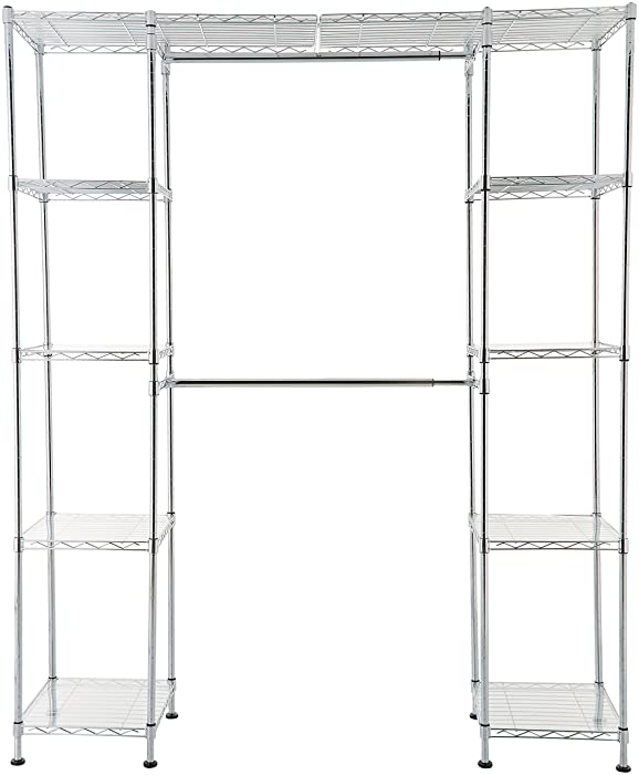 "AmazonBasics Expandable Closet Organizer - 14"" x 58"" Expands to 63"" x 72"", Chrome"