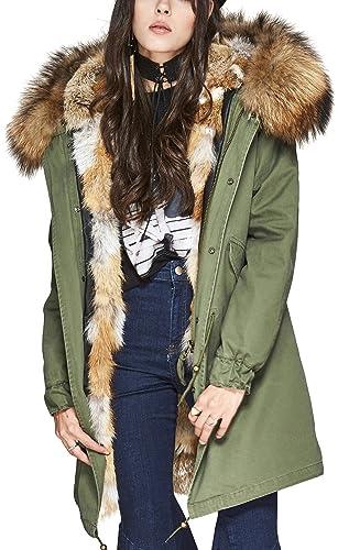 S.ROMZA Chaqueta con capucha real de piel de mapache para mujer Real Fox Forro con piel de largo Par...