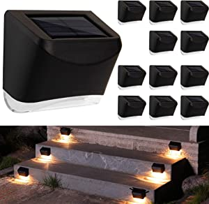 MAGGIFT 12 Pack Solar Deck Lights, Outdoor Solar Powered Fence Step Lights, Deck Lights Waterproof Outside Night Lights Decor for Steps Stairs Walkway Garden Fences Wall, Warm White