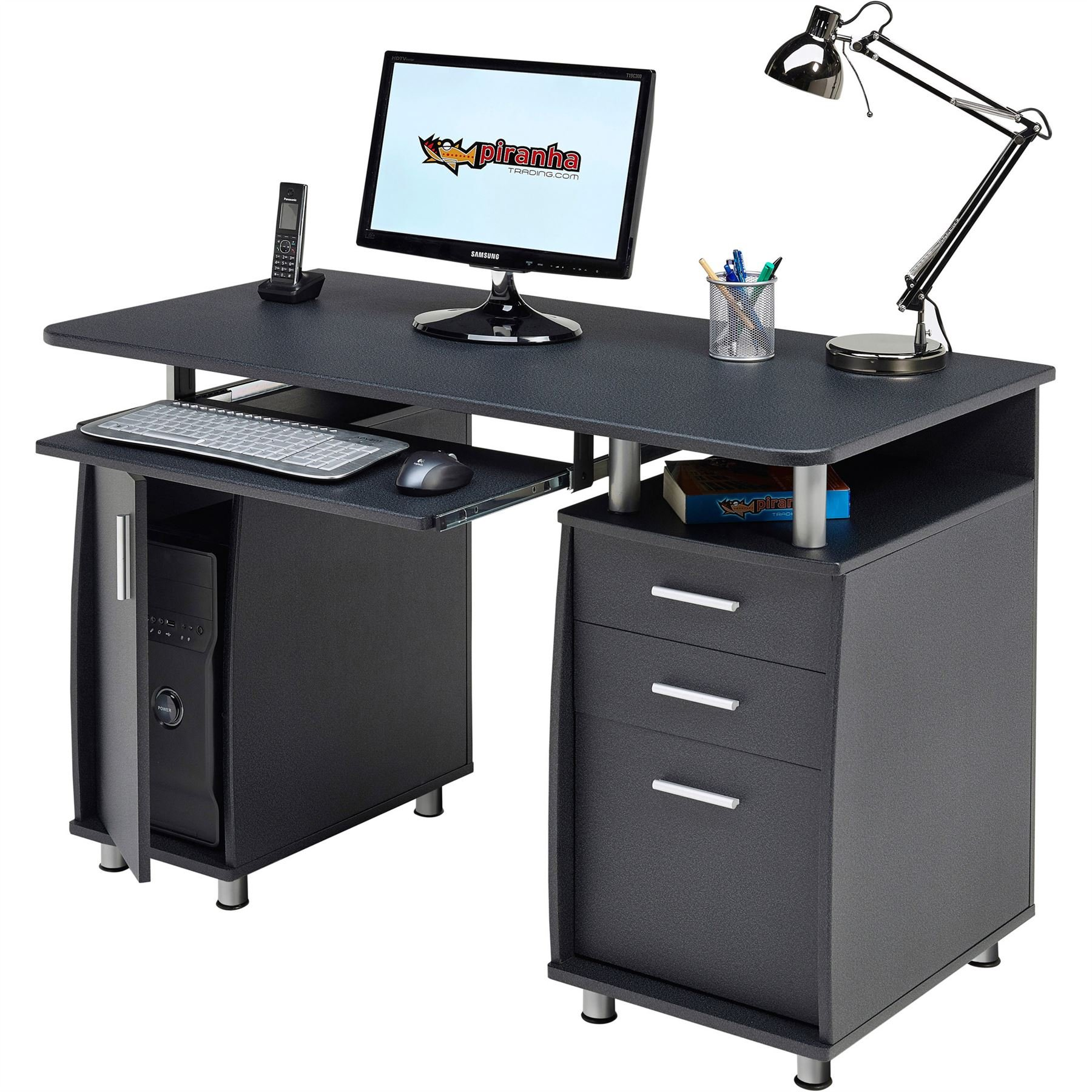 Compact Computer Desk Trolly with Keyboard Shelf Home Office in Graphite Black Piranha Furniture Minnow PC 11g