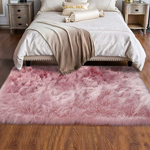 Softlife Faux Fur Sheepskin Area Rugs Shaggy Wool Carpet for Girls Room Bedroom Living Room Home Decor Rug 3ft x 5ft, Pink