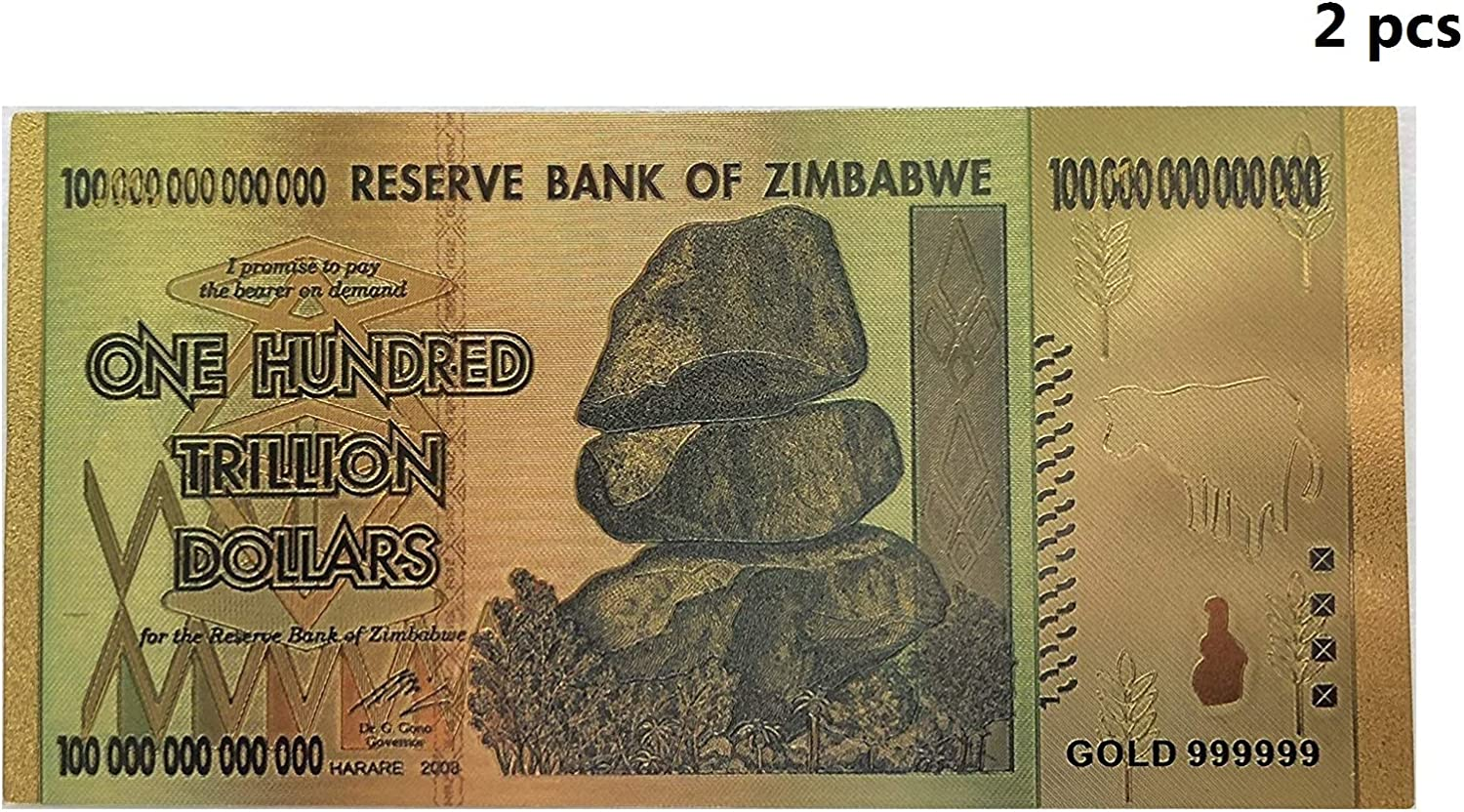 1x Zimbabwe 100 Trillion Banknote Gold Bill World Money Value Collection Gift