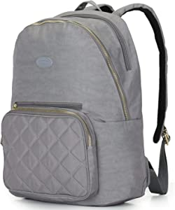 Nylon Casual Travel Daypack Backpack with 13 Inch Laptop Compartment, with Trolley Strap and Quilted Pocket for Women (Grey)