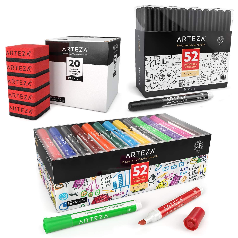 ARTEZA Dry Erase Supply Bundle: Multicolor Dry Erase Markers Chisel Tip Set of 52, Black Dry Erase Markers Fine Tip Set of 52 and Magnetic Dry Erasers Pack of 20