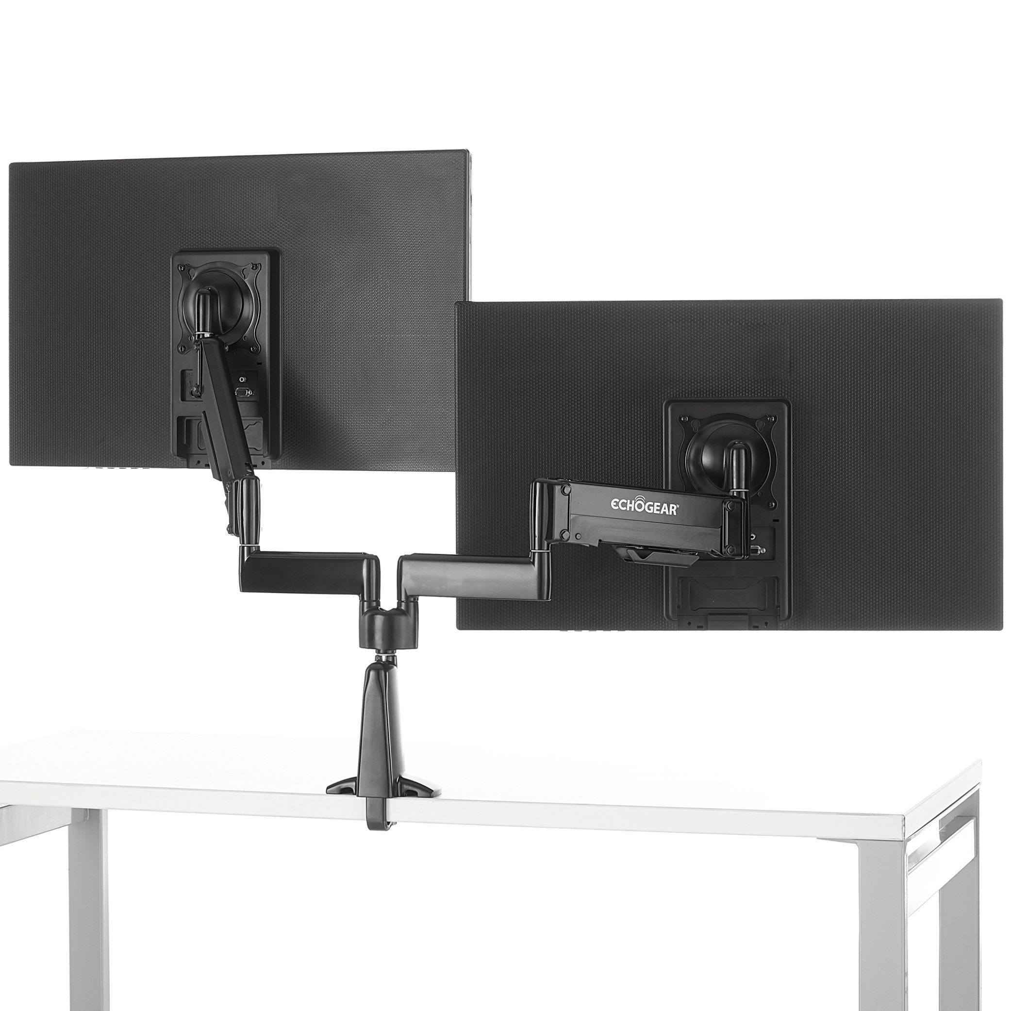 ECHOGEAR Dual Monitor Desk Mount For Gaming & Office Monitors - Move Your Monitors To The Perfect Spot With Dynamic Gas Spring Adjustments - Works With 2 Vertical Or Horizontal Monitors - ECHO-GM2FC