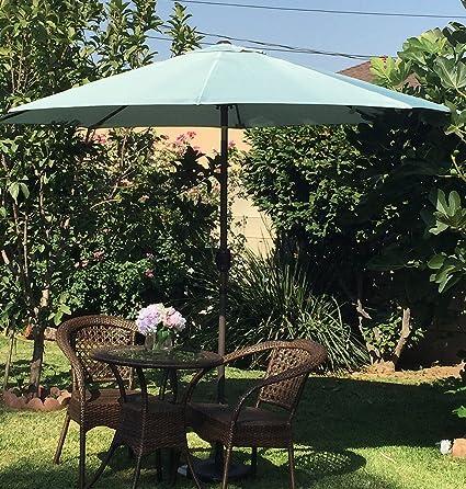 BELLRINO DECOR U0026quot;SPA BLUE U0026quot;Market Aluminum Patio Umbrella 9 Ft  With Tilt