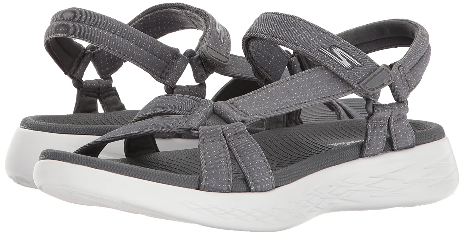 Skechers Women's on-The-Go 600-Brilliancy Sport Sandal B072T3Z4WF 5 M US|Charcoal