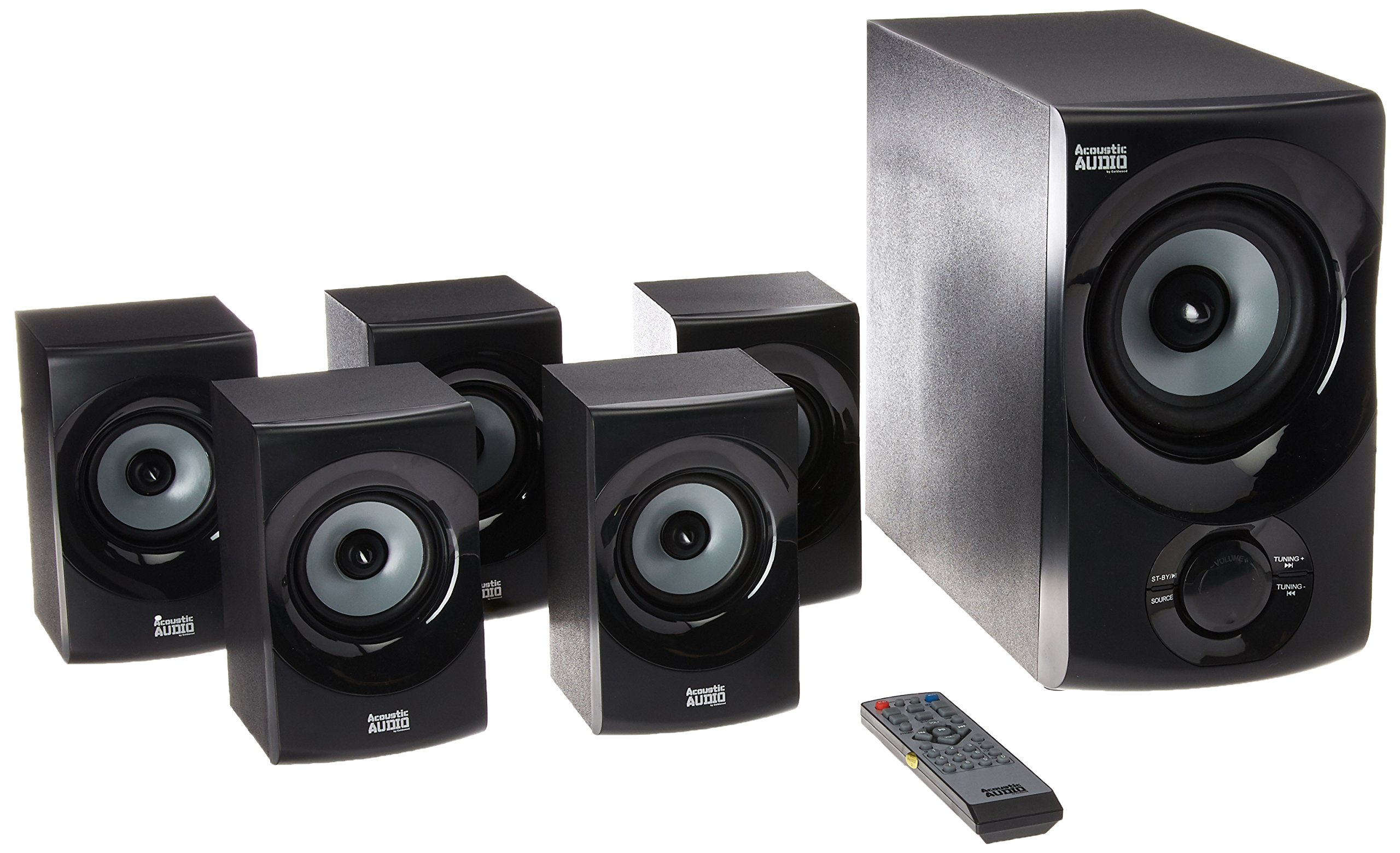 Acoustic Audio by Goldwood Bluetooth Speaker System 5.1-Channel Home Theater Speaker System Gray (AA5172)
