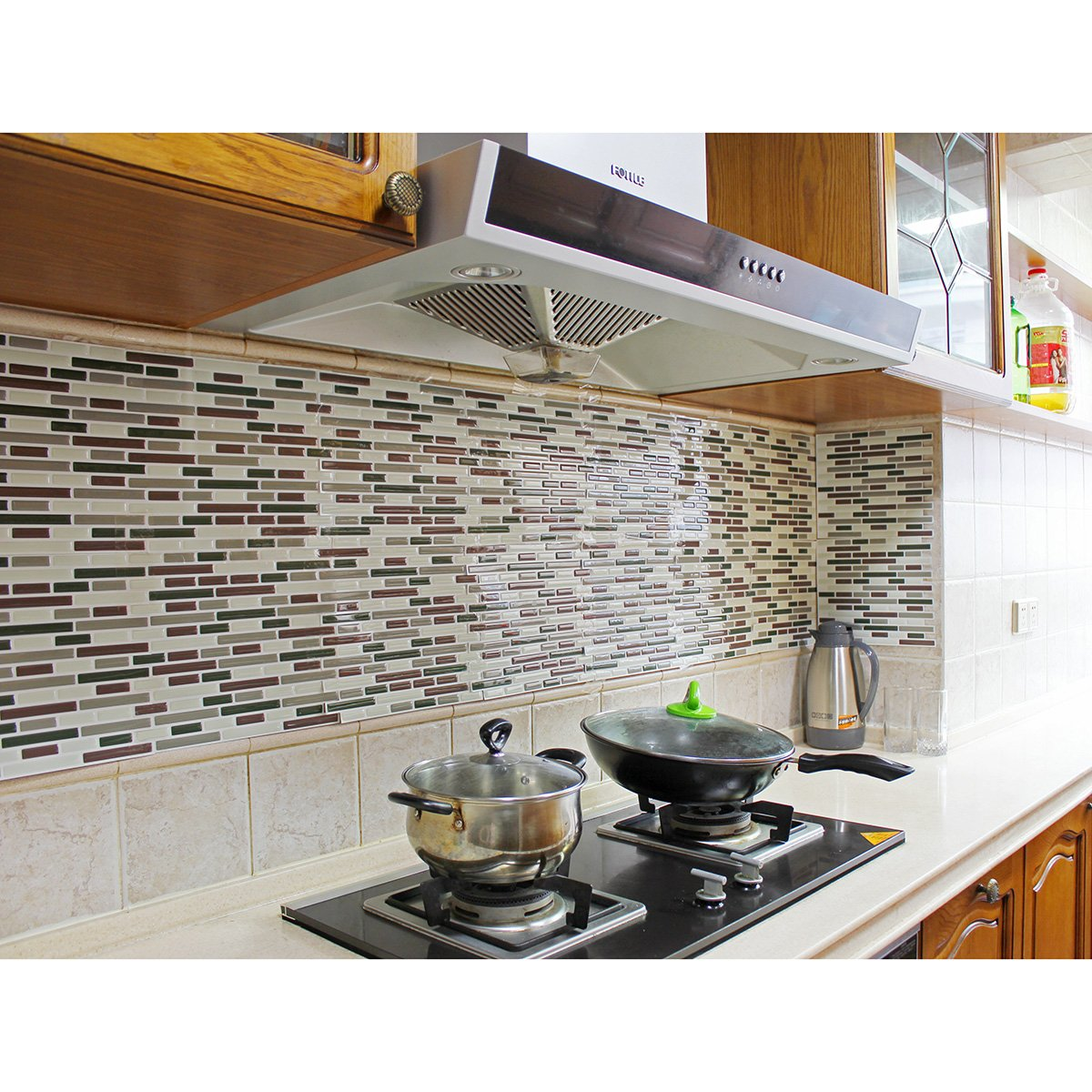 - Fancy-fix Vinyl Self Adhesive Multicolor Mesh-Mounted Mosaic Kitchen  Backsplash Wall Tile Sticker-Pack Of 2 Sheets 11.4 Inches By 9.25 Inches:  Amazon.in: Home & Kitchen
