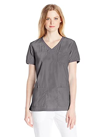 4613b47fd29 KOI Women's Nicole Super Comfy Pullover Style Scrub Top with Rib Trim,  Steel, X