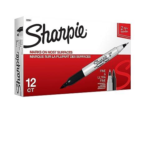 Rotuladores permanentes Sharpie de punta doble, finos y ultra finos, color negro, 12 unidades: Amazon.es: Industria, empresas y ciencia
