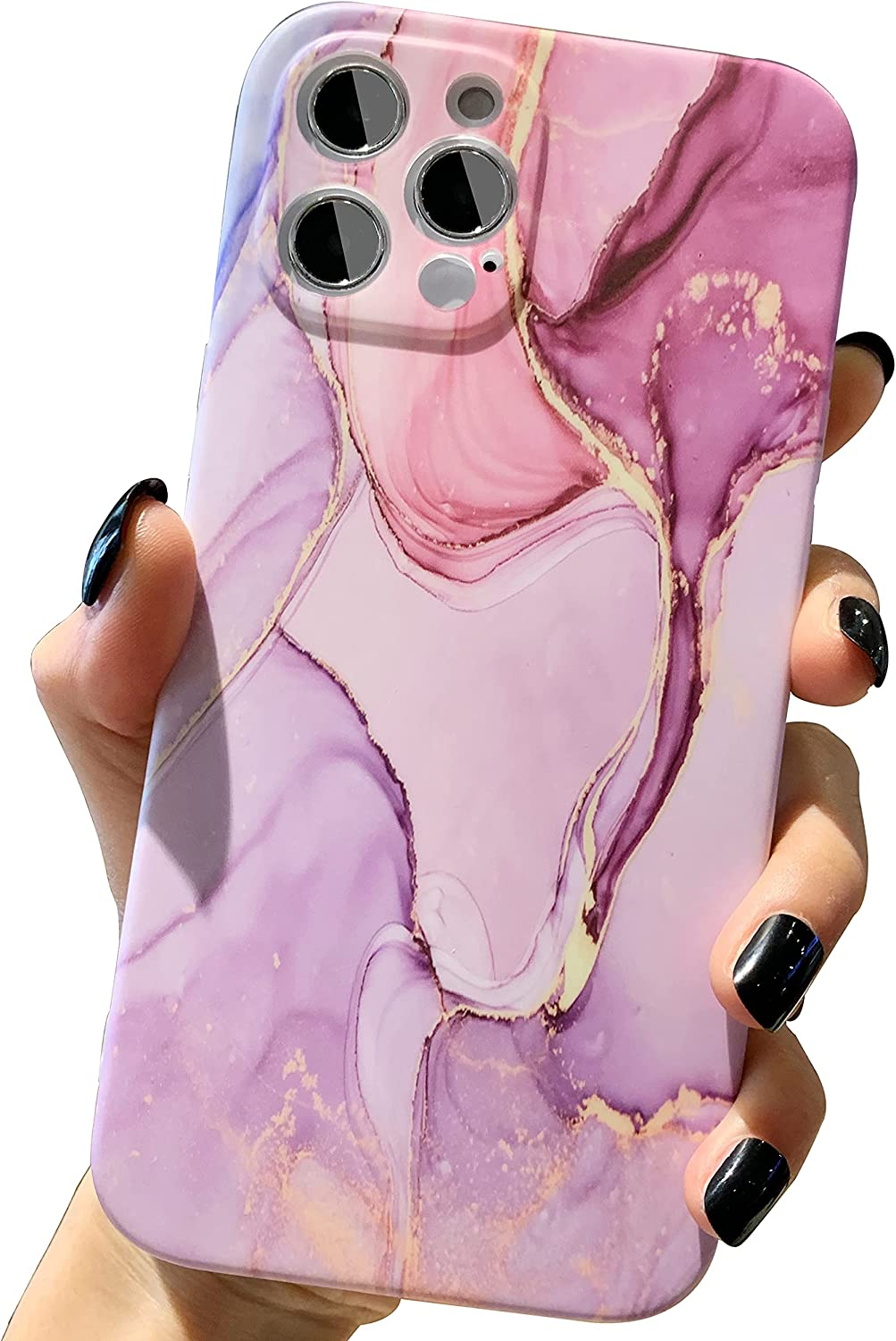 Marble Design Case Compatible with iPhone 12 Pro Max for Women Girls, with Unique Full Camera Lens Protection Slim Matte Case Shockproof Soft Flexible Protective Cover for 12 Pro Max 6.7 inch 5G
