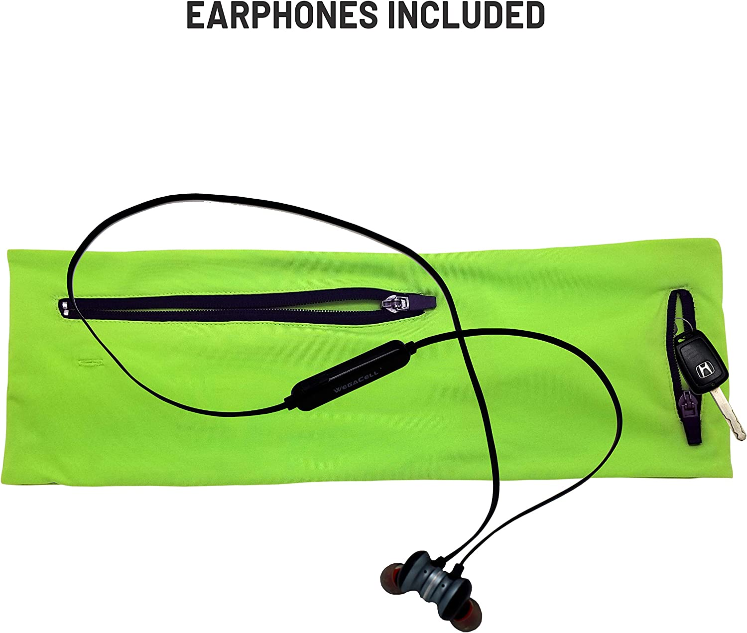 Hips-sister Walking Belt and Bluetooth Earphones Combo 2 Large 1 Small Zipper Pockets Fits Phones Keys Money and More Exercise Running Belt Fanny and Waist Pack