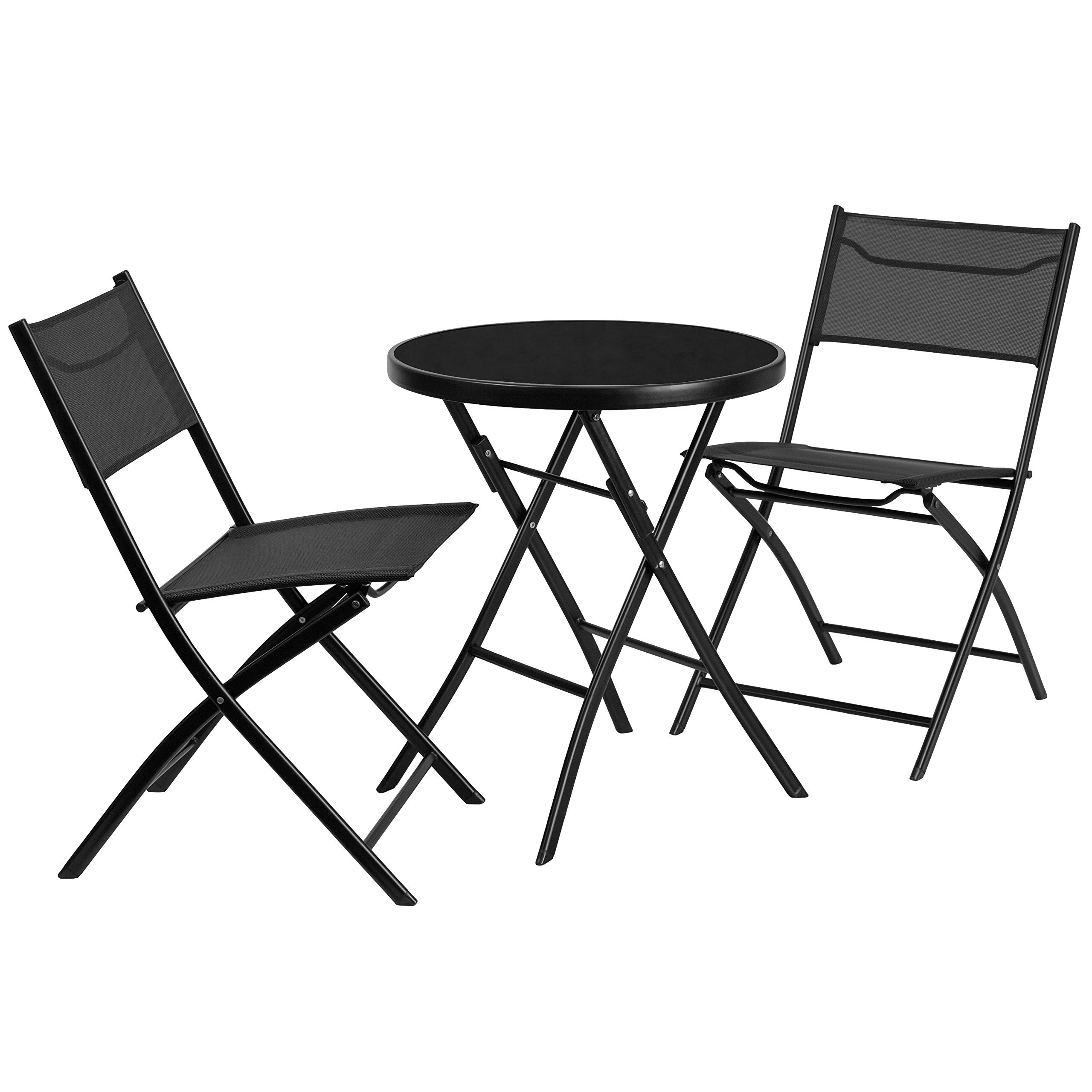 Flash Furniture 23.75'' Round Tempered Glass Metal Outdoor Table Set with 2 Textilene Fabric Folding Chairs