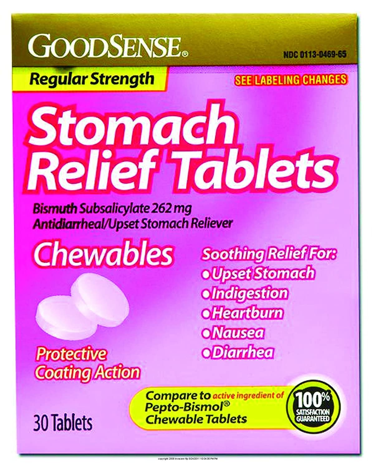 Amazon com : Stomach Relief Tablets, Pink Bismuth Tabs Reg