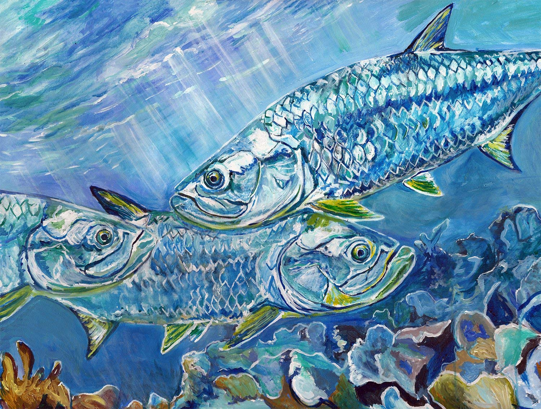 Tarpon On The Coral Wall Art Print, Fishing Gift Idea, Tarpon Fishing Artwork Hand Signed By Jack Tarpon,