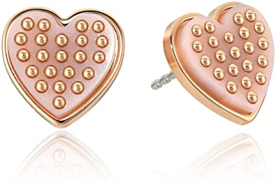 4da65fdc752332 Amazon.com: Michael Kors Micro Muse Rose Gold-Tone and Blush Acetate Heart Stud  Earrings: Jewelry
