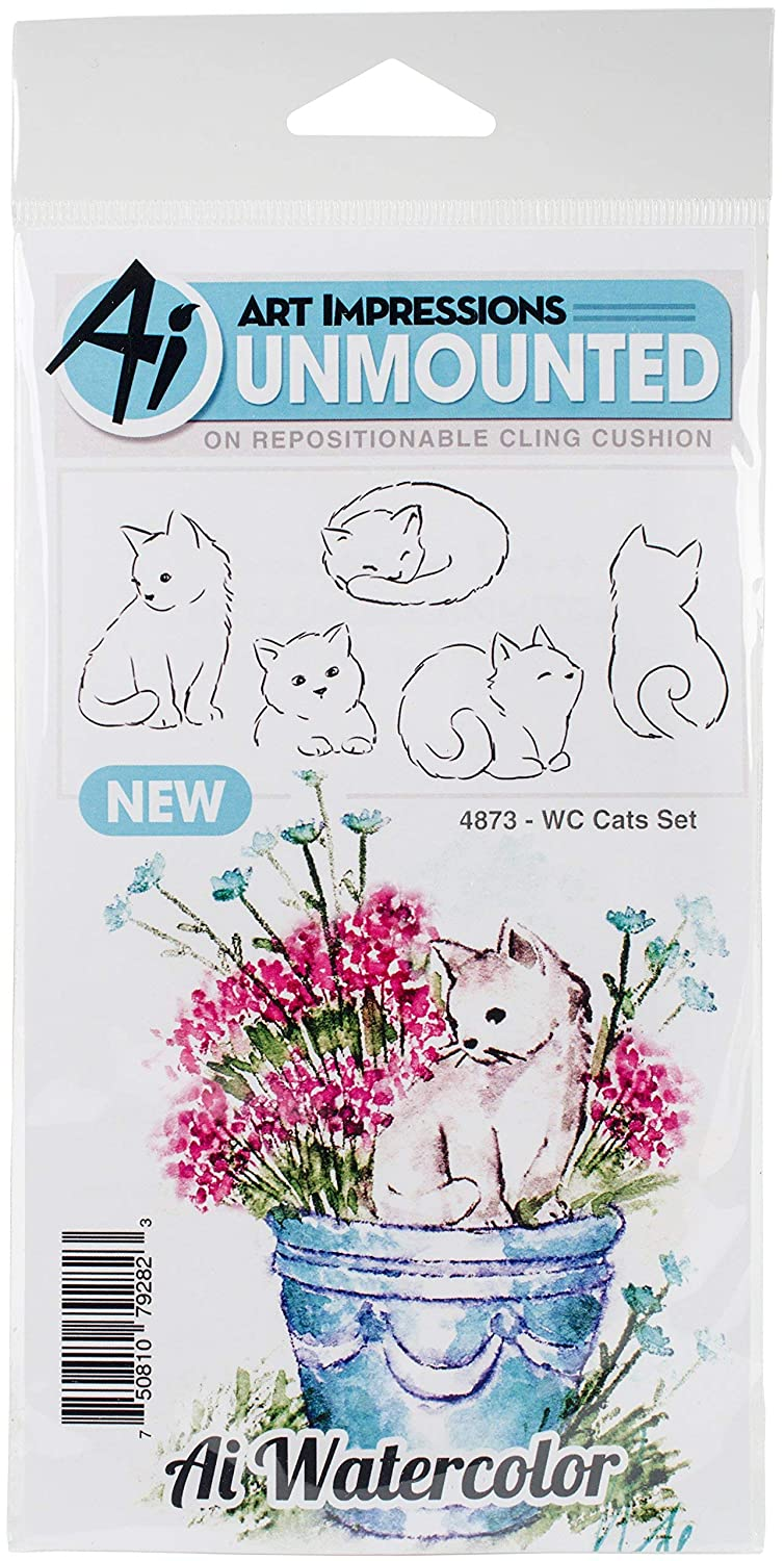 Art Impressions Watercolor Cling Rubber Stamp Cats