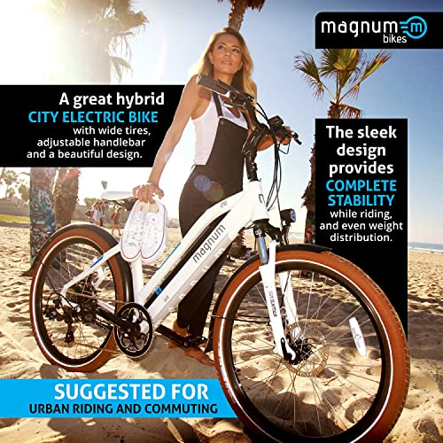 Magnum Ui5 Electric Hybrid City Bike – 350W Motor, Large Capacity 36V13A – Lithium Battery – Rear Rack White