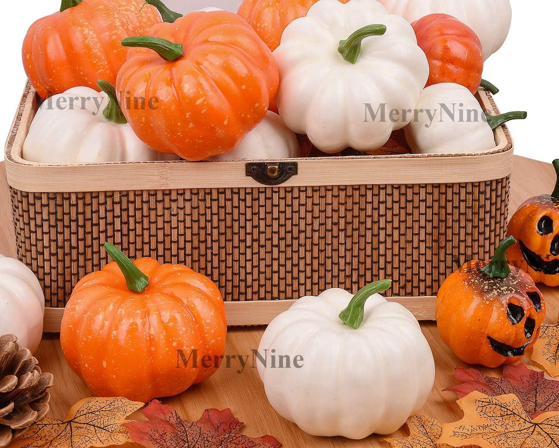 Artificial Vegetables for Halloween Thanksgiving Autumn Ornaments(Orange) Total 12pcs 2 Kinds of Size Mini-Fake-Pumpkins MerryNine Artificial Pumpkins for Decoration