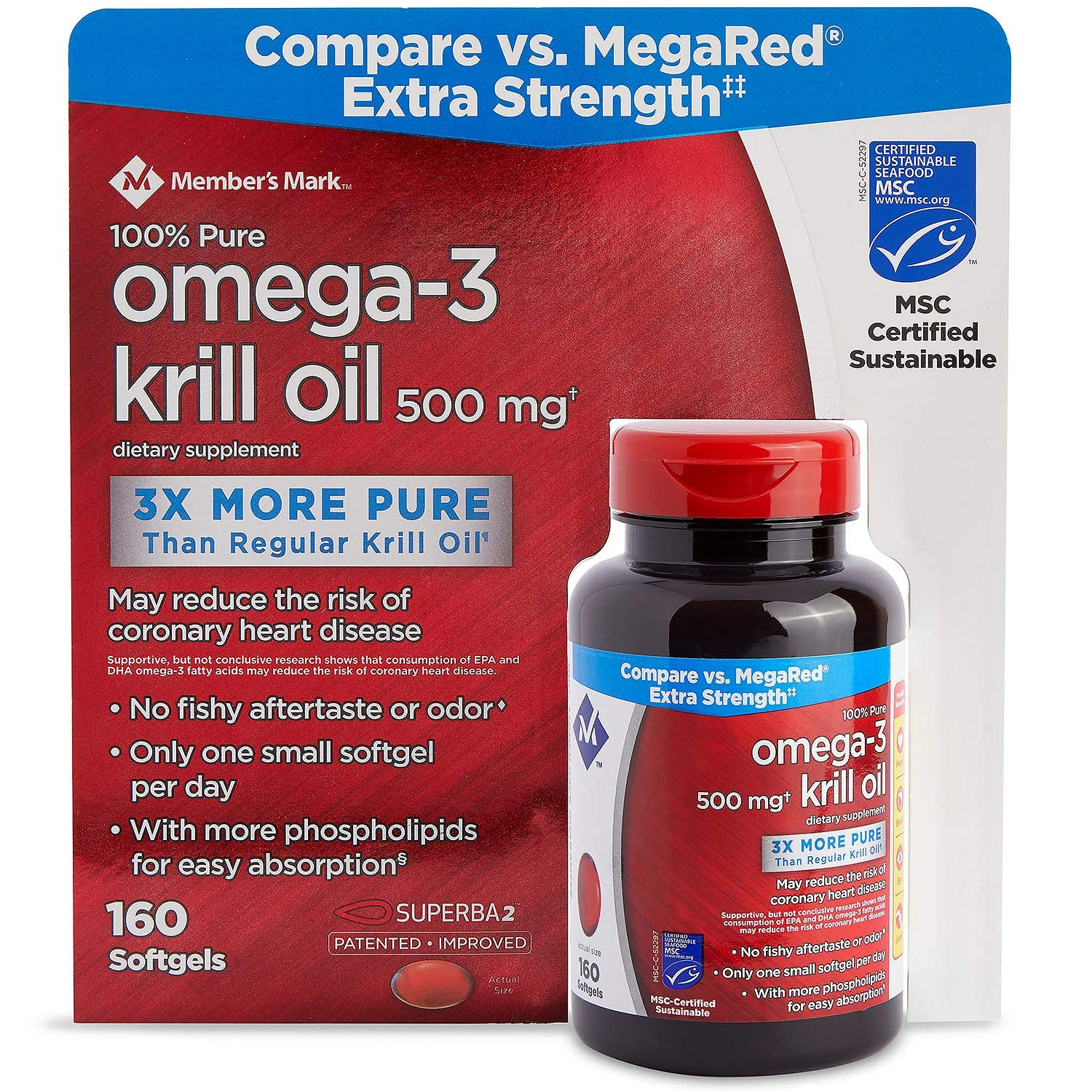 Member's Mark Extra Strength 100% Pure Omega-3 Krill Oil, 500mg 160 ct. (Pack of 3) A1 by Members Mark (Image #1)