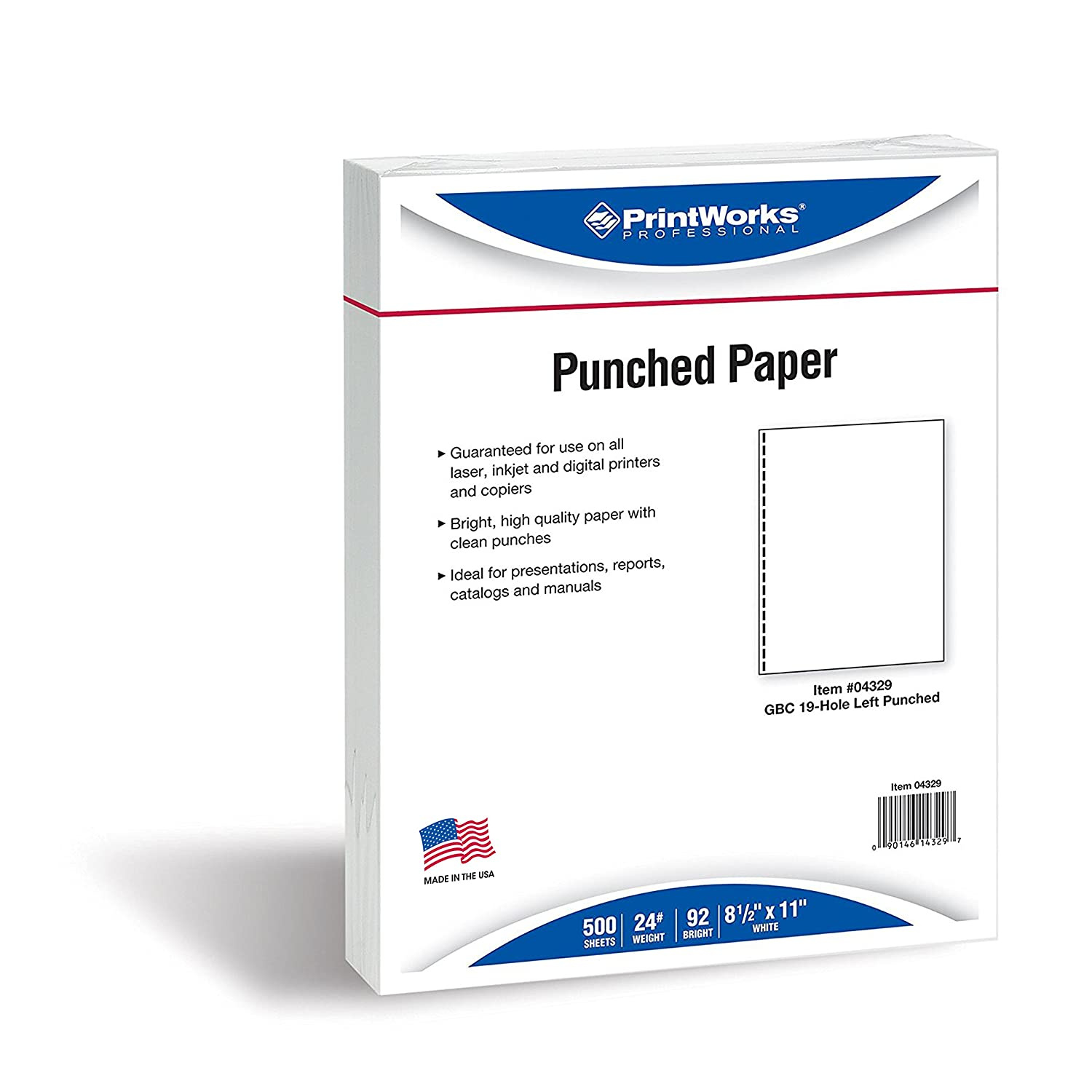 PrintWorks Professional Prepunched Paper, 8.5 x 11, 11kg, GBC CombBind 19-Hole Punched Report & Presentation Paper, 500 Sheets, White (04329) B01LXS02VG  24 lb