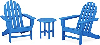 product image for POLYWOOD PWS417-1-PB Classic 3-Piece Chair Side Table Adirondack Seating Set, Pacific Blue