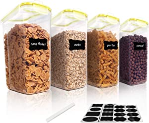 Vtopmart Cereal Storage Container Set, BPA Free Plastic Airtight Food Storage Containers 135.2 fl oz for Cereal, Snacks and Sugar, 4 Piece Set Cereal Dispensers with 24 Chalkboard Labels, Yellow