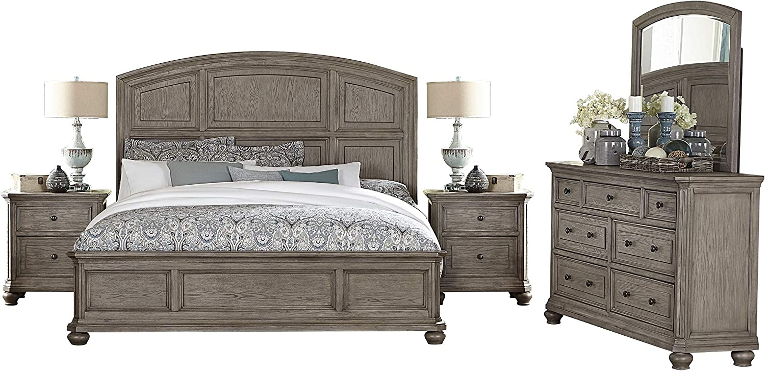 Amazon Com Lawrence 5pc Bedroom Set Cal King Bed Dresser Mirror 2 Nightstand In Rustic Natural Wood Furniture Decor