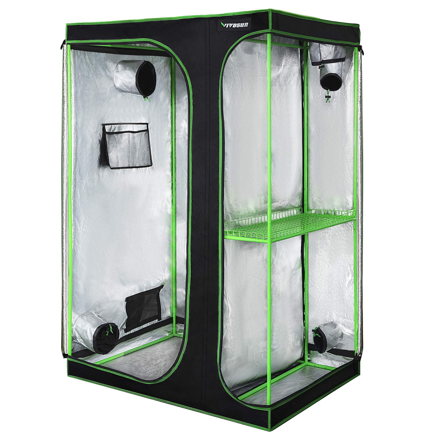 VIVOSUN 2-in-1 48''x36''x72'' Mylar Reflective Grow Tent for Indoor Hydroponic Growing System