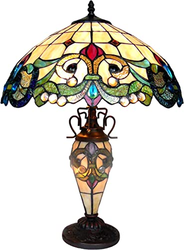 Chloe CH18767IV18-DT3 18 Shade Dulce Tiffany-Style 3 Light Victorian Double Lit Table Lamp, 24.5 x 18 x 18, Multicolor