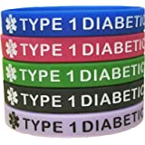 Type 1 Diabetes Silicone Bracelets 5 pack multi-color