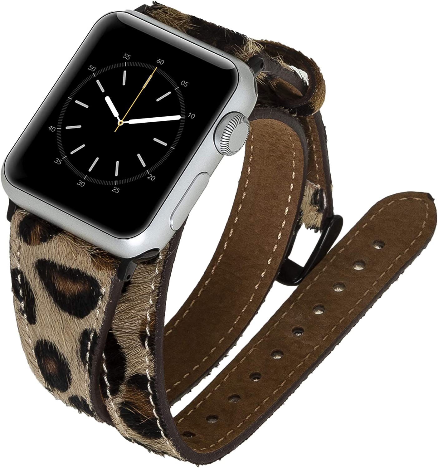 Venito Serena Slim Double Wrap Leather Watch Band Compatible with The Newest Apple Watch iwatch Series 6 as Well as Series 1,2,3,4,5 (Furry Leopard w/Black Stainless Steel Hardware, 38mm-40mm)