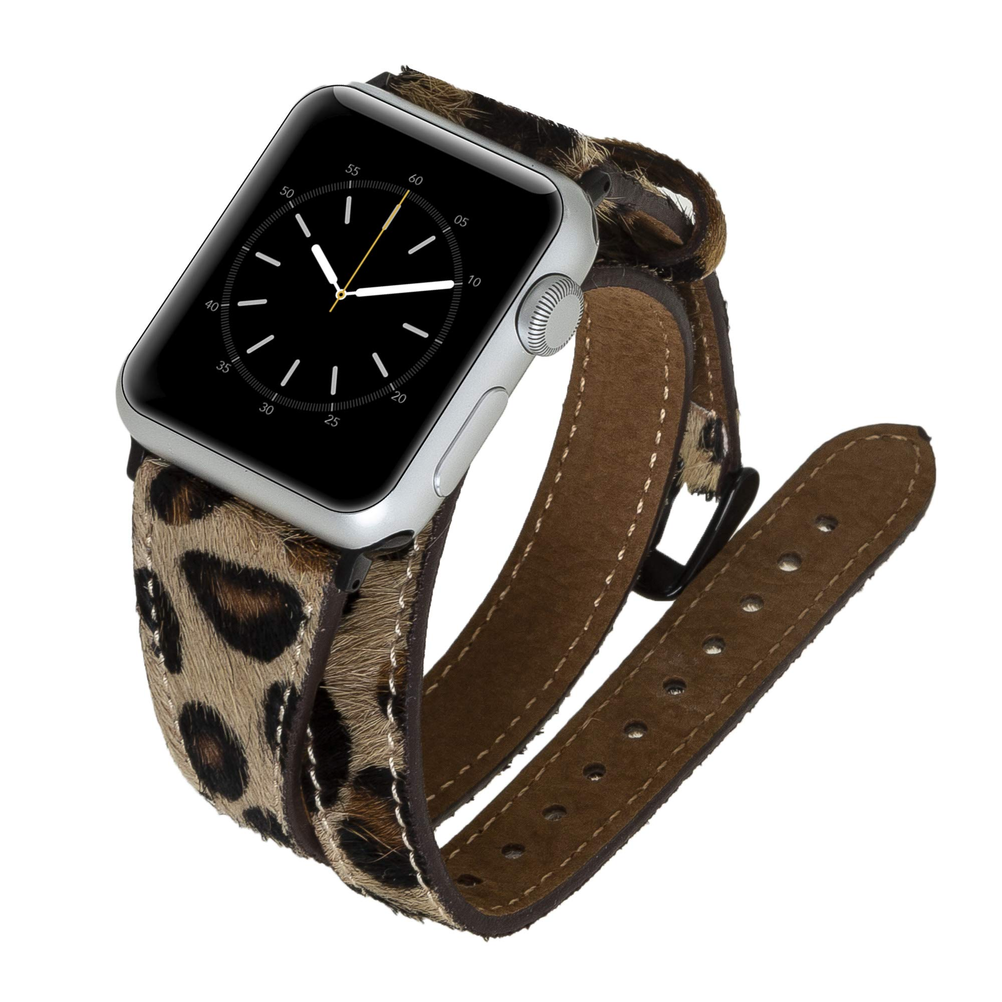 Venito Serena Slim Double Wrap Leather Watch Band Strap Compatible w/Apple Watch iwatch 44/42/40/38mm,Series1,2,3,4 w/Stainless Steel Hardware (Furry Leopard w/Black Connector&Clasp, 38mm-40mm) by Venito