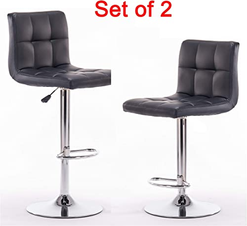 LZL Swivel Bonded Leather Adjustable Pneumatic Bar Stool Set of 2 Black