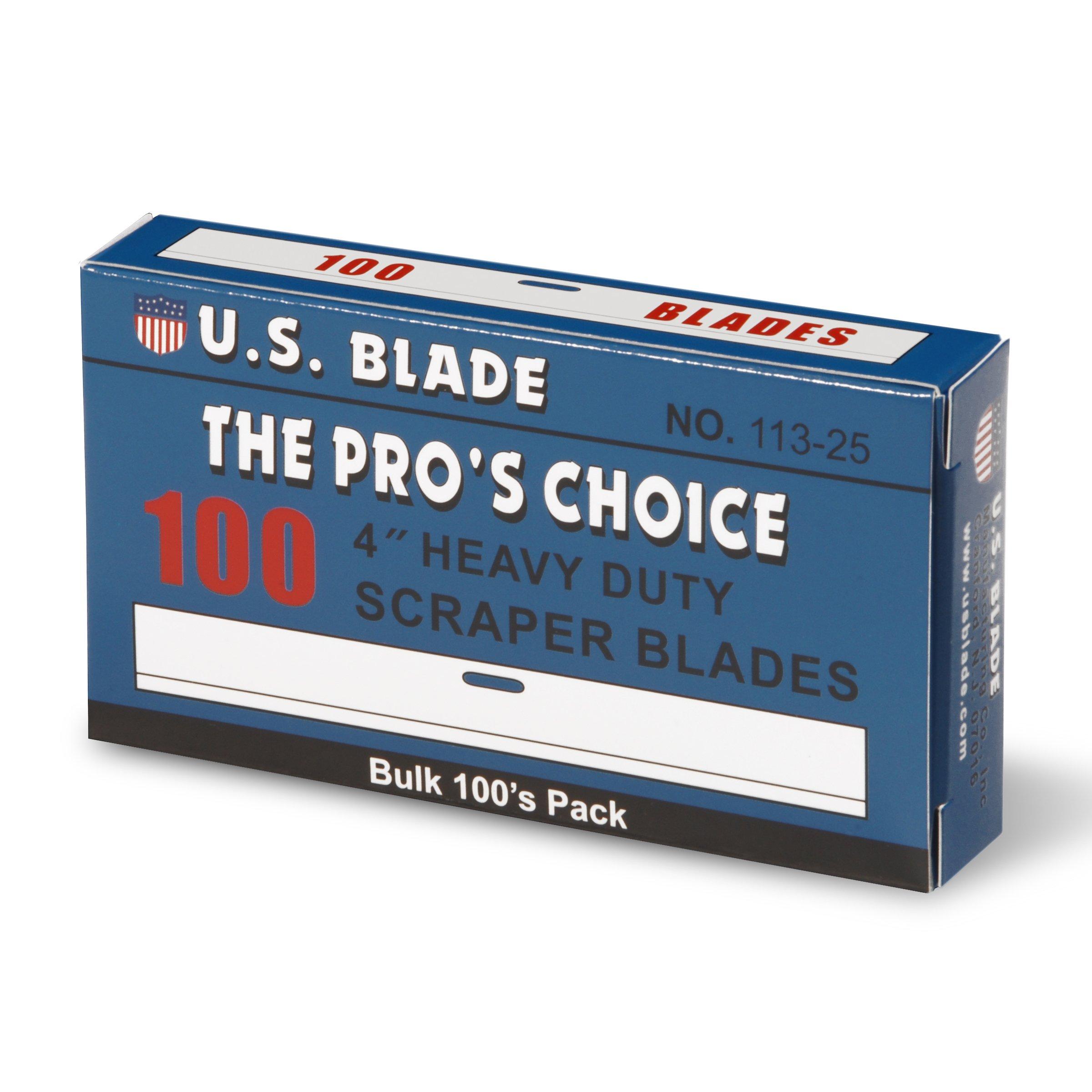 U.S. Blade U-113-25 4'' Scraper Blades 100 Pak 4''