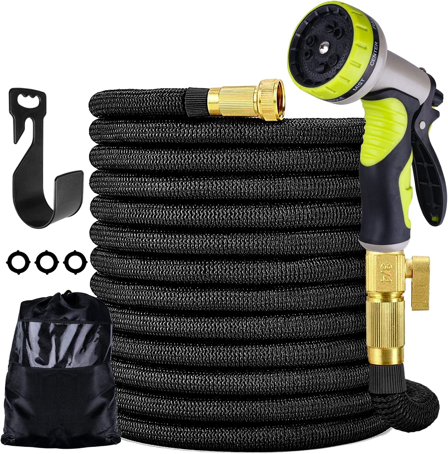 Furnizone 50 ft Expandable Garden Hose with 9 Function Nozzle,4-Layer Latex Core Flexible Leakproof Water Hose with Solid 3/4