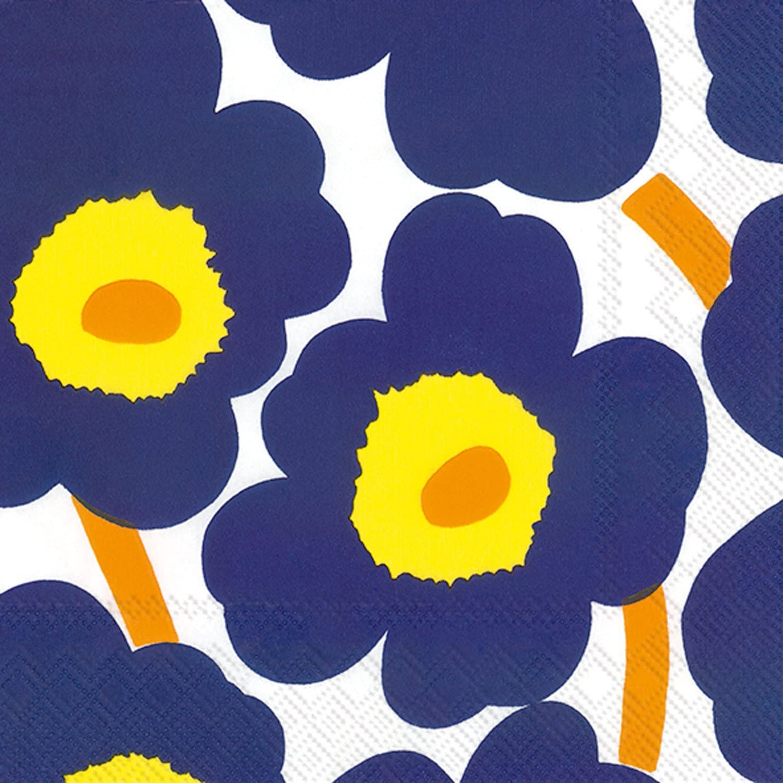 Boston International IHR Marimekko Floral Cocktail Beverage Paper Napkins, 5 x 5-Inches, Unikko Dark Blue