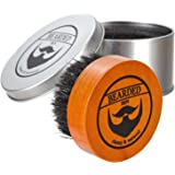 BEARDED BEN premium quality teak beard brush with 100% natural boar bristles, perfectly grooms and massages to ease itchy flaky beards, for use with beard oil, beard butter or beard balm with 2 years' satisfaction guaranteed