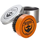 BEARDED BEN Beard Brush with 100% natural boar bristles, perfectly grooms and massages, eases itchy flaky beards | 2 Year Satisfaction Guarantee | beard comb, grooming set