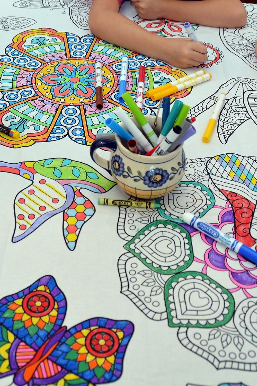 Amazon.com: The Coloring Table - Colorable Mandala Tablecloth ...
