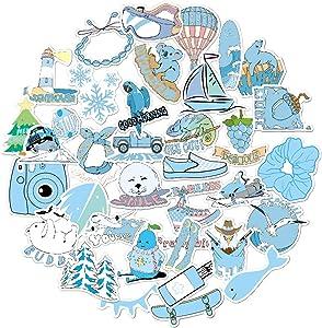 Vsco Girls Stickers for Hydro Flask Water Bottles Big 35 Pack Cute,Girls,Waterproof,Aesthetic,Trendy Stickers for Teens, Waterbottle,Laptop,Phone,Travel Extra Durable Vinyl(Blue)