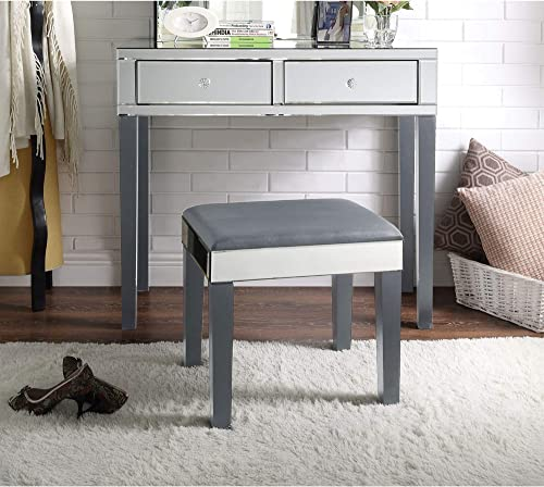 Inspired Home Juliet Mirrored Grey Vanity Set – 2 Drawers 2 Piece Set Modern Contemporary