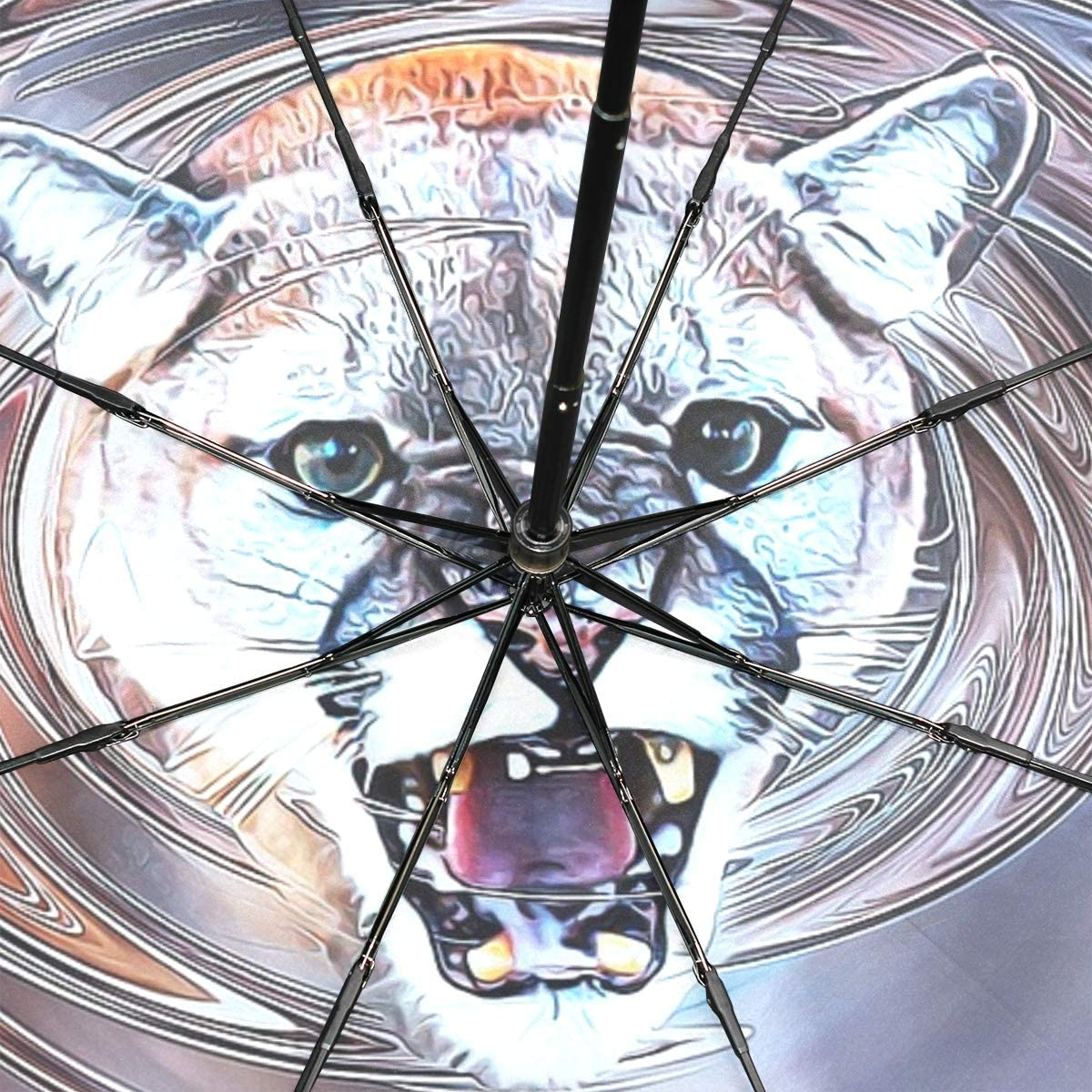 Umbrella Kids Girls Cougar Animal Art Swirl Decorative Page Portable Compact Folding Umbrella Anti Uv Protection Windproof Outdoor Travel Women Umbrella Double Layer Inverted