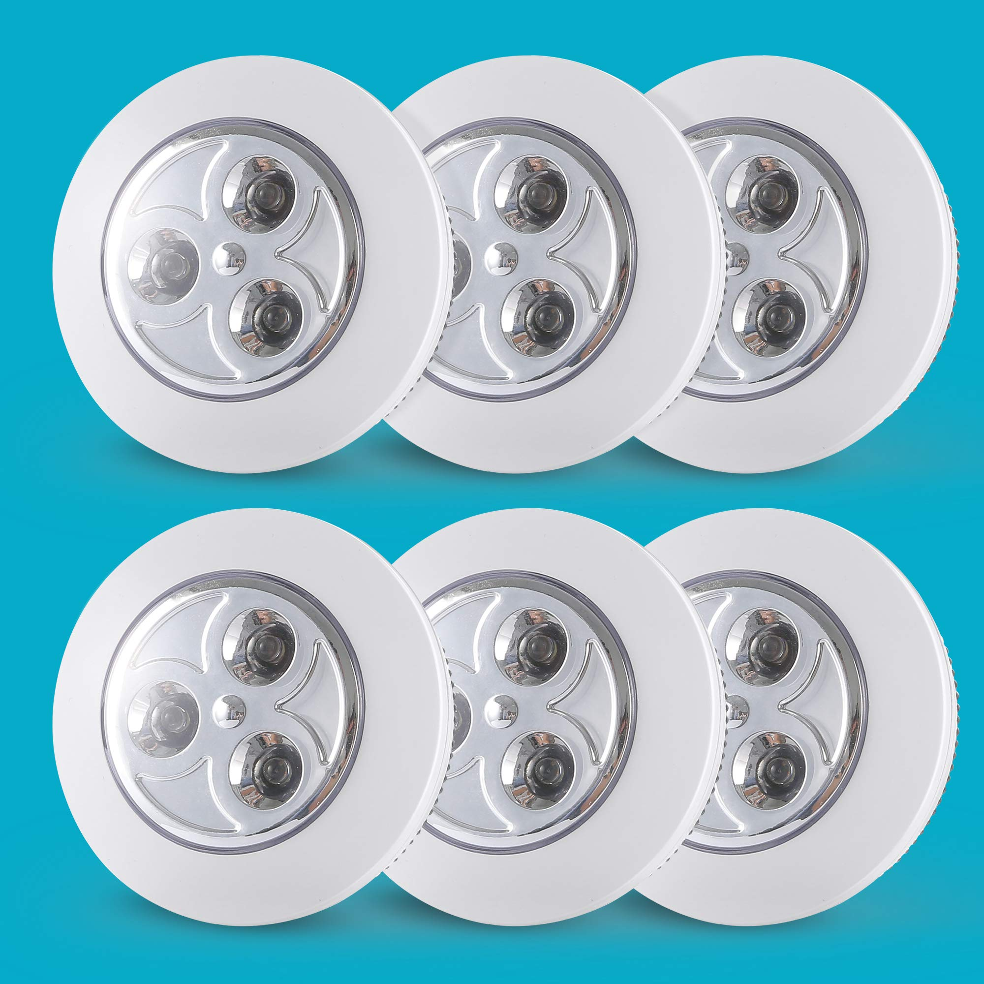 6-Pack Closet Push Light Battery Operated | Touch Lights| Led Lights for Closet| Tap Light| Push on Light, for Shoe Cabinet, Hallway, Cabinet, Wardrobe, Kitchen Locker(Not Batteries) by SOAIY