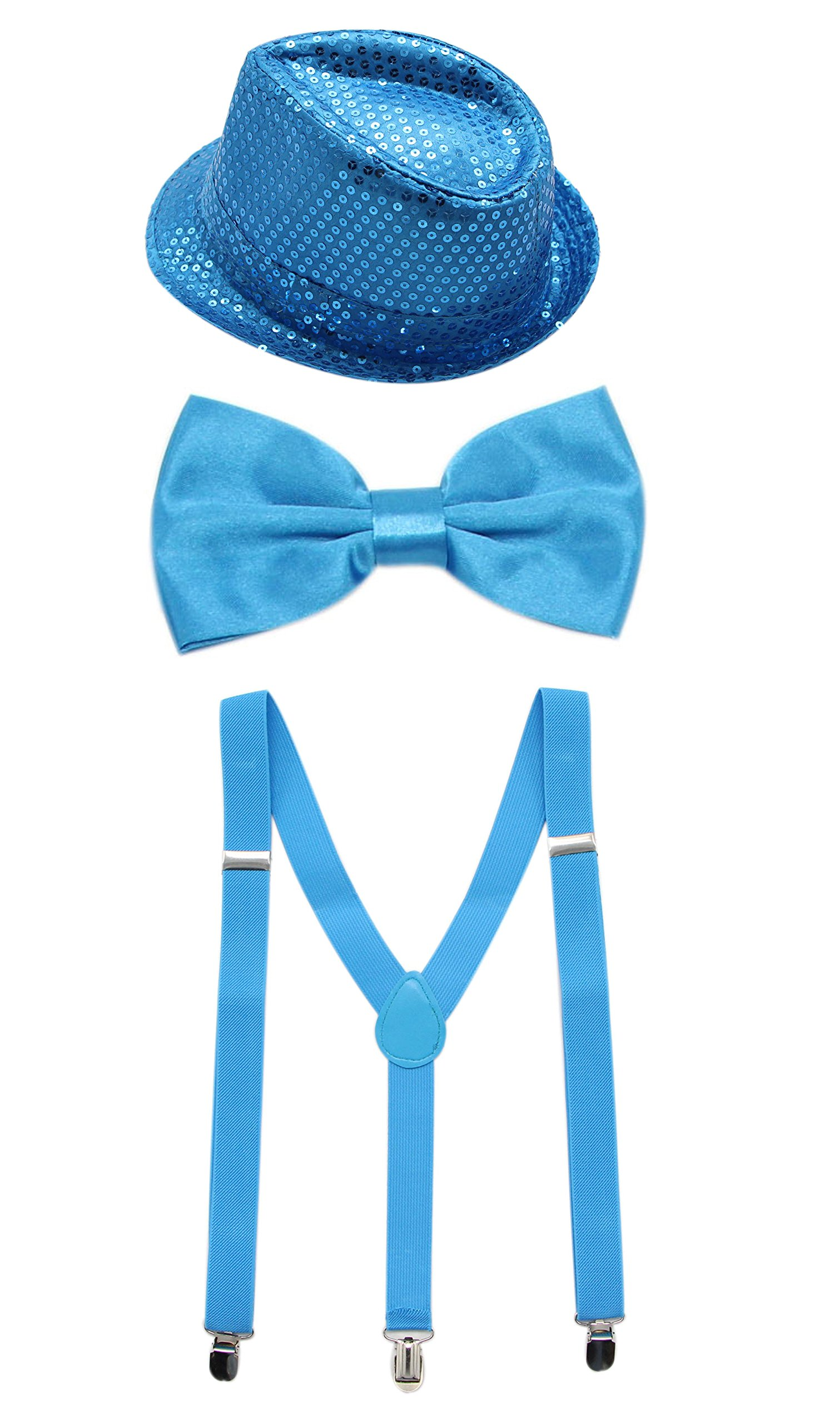 JAIFEI Men's Paillette Fedora Hat With Adjustable Pre-Tied Bow Tie & Suspender For Party, Dress-up (Turquoise)
